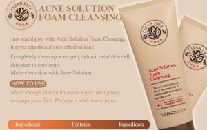 Sữa rửa mặt cho da dầu và mụn Clean Face Acne Solution Foam Cleansing TheFaceShop