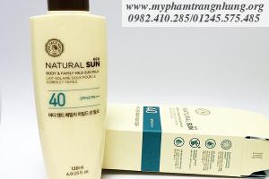 Kem chống nắng toàn thân Natural Sun Body & Family Mild SPF40 Thefaceshop