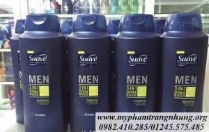 Dầu Gội – Xả – Sữa Tắm Suave Men 3 in 1