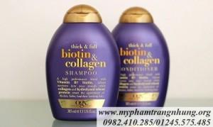 Dầu gội ngăn dụng tóc Biotin và Collogen OGX 385ml